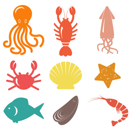 Seafood icons Stock Illustratie