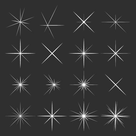 Set of sparkles star on black background Vectores