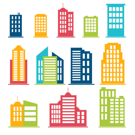 Building icons set in color. Vector illustration