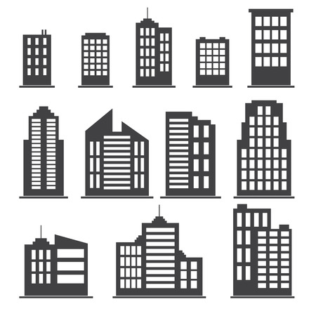 Building icons set. Vector illustration Illustration