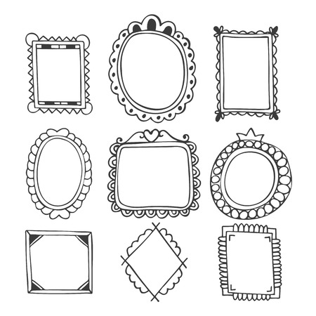 Collection of hand drawn frames. Vintage photo frames. Vector illustration Vectores