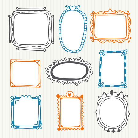 Cute hand drawn frames. Vintage photo frames. Vector illustration Ilustração