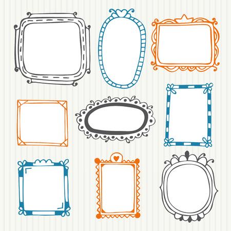 Cute hand drawn frames. Vintage photo frames. Vector illustration Ilustrace
