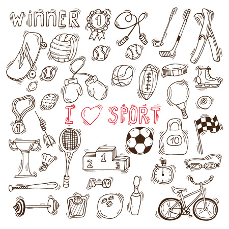 hockey equipment: Fitness and sport vector elements. Hand drawn sport doodle icons. Vector illustration