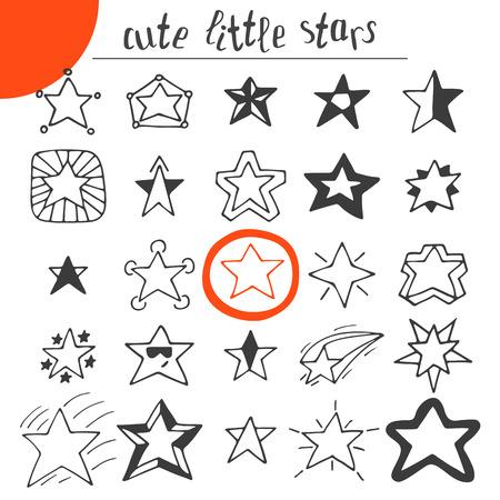 Hand drawn cute little stars. Vector illustration