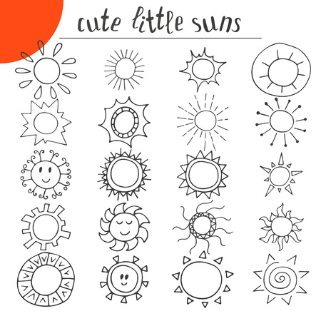 sun set: Hand drawn cute little suns. Doodle set. Vector illustration