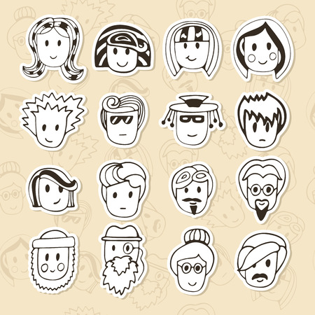 funny faces: Hand drawn different funny faces. Doodle vector avatars set. Vector illustration Illustration