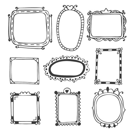 Hand drawn frames. Vintage photo frames. Vector illustration