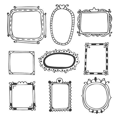 Hand drawn frames. Vintage photo frames. Vector illustration