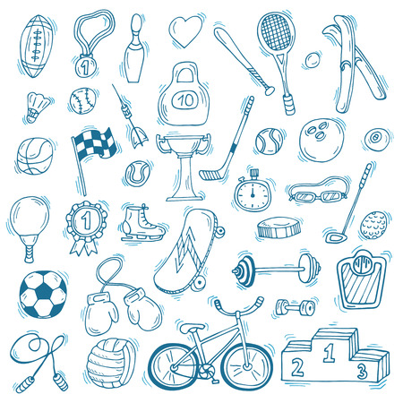 Hand drawn sport icon set. Fitness and sport. Healthy lifestyle. Vector illustration Vector