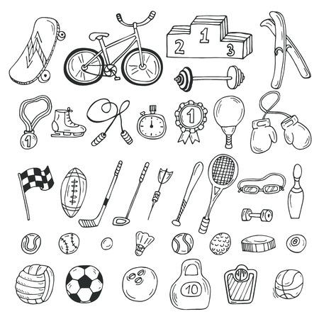 손으로 그린 스포츠 아이콘을 설정합니다. 피트니스 및 스포츠. 벡터 일러스트 레이 션