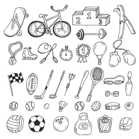 stopwatch: Hand drawn sport icon set. Fitness and sport. Vector illustration Illustration