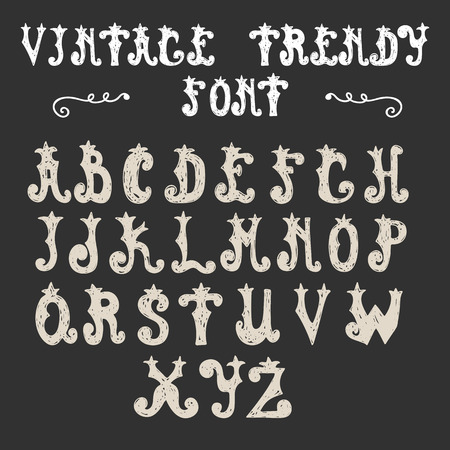 Hand drawn trendy font. Vector vintage alphabet. Vector illustration Vector
