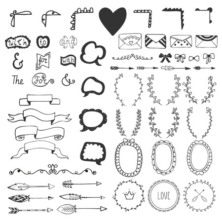 Hand drawn vintage romantic elements. Hand-sketched elements - florals, ribbons, calligraphic elements, arrows, speech bubbles, bows, ampersands and catchwords. Vector illustration Illustration