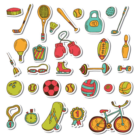 Healthy lifestyle sticker set. Sport icons. Hand drawn doodle fitness set. Vector illustration Vector