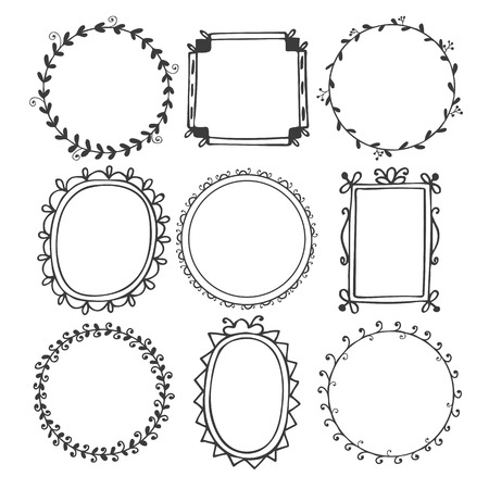 Romantic hand drawn frames. Vector illustration