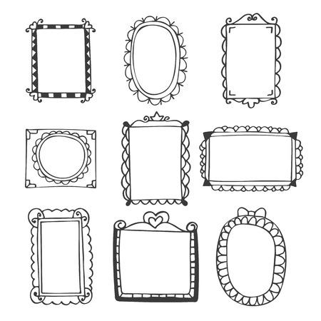 Set of hand drawn frames. Vintage photo frames on white background. Vector illustration
