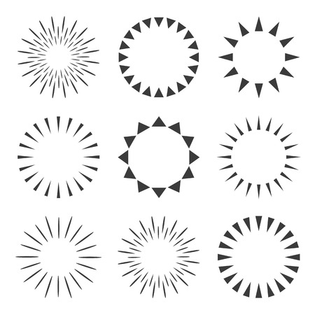 Set of sparkles and starbursts with rays. Vector illustration