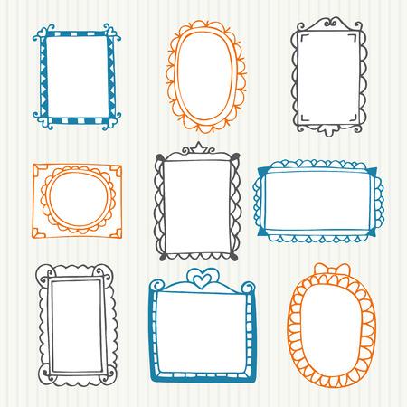Vintage photo frames. Hand drawn set. Vector illustration