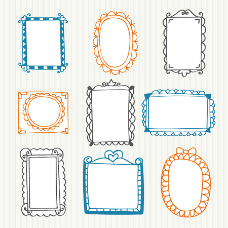 oval: Vintage photo frames. Hand drawn set. Vector illustration