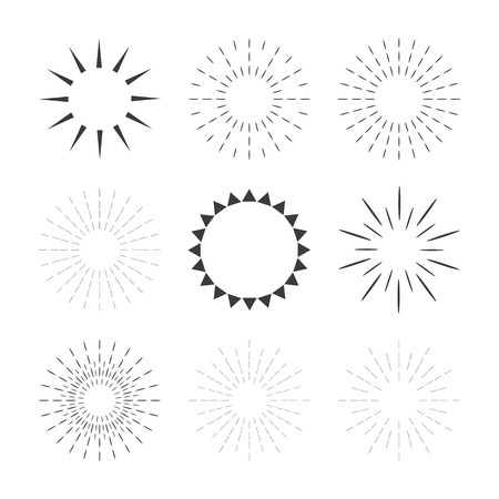 Set of sparkles and starbursts with rays. Design elements. Vector illustration