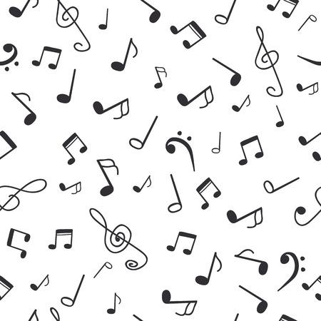手描きの音符。音楽のシームレスなパターンの背景。ベクトル図  イラスト・ベクター素材