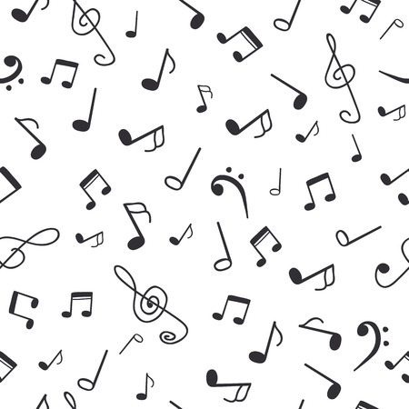 Hand drawn music notes. Music seamless pattern background. Vector illustration Vettoriali