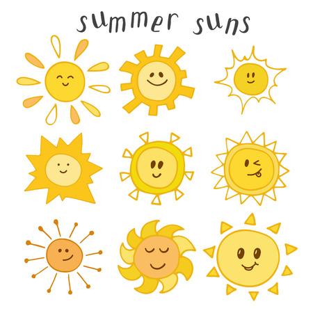 suns: Set of cute summer suns. Hand drawn smiley suns. Vector illustration