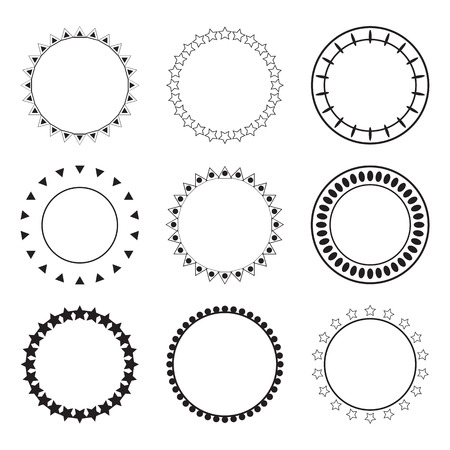 Set of round frames. Decoration design elements. Ethnic borders in collection. Vector illustration