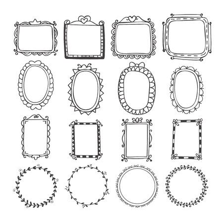 Vintage hand drawn frames in vector. Doodle set of design elements. Vector illustration Vectores