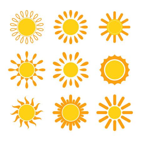 suns: Set of vector suns. Sun icons. Vector illustration Illustration