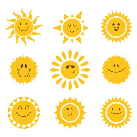 sol caricatura: Vector conjunto de iconos del sol. Colección de soles. Ilustración vectorial