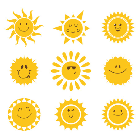 children face: Vector set of sun icons. Collection of suns. Vector illustration
