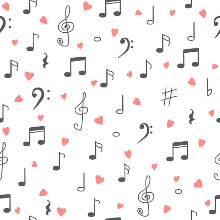 I love music. Music seamless pattern background. Hand drawn music notes and hearts. Vector illustration Stock Illustratie