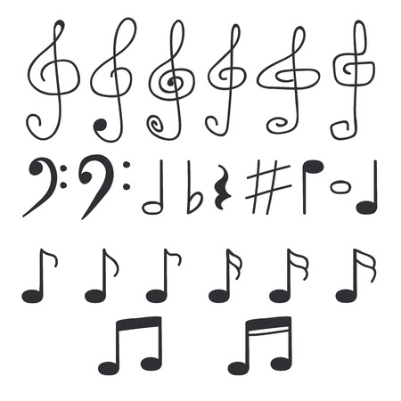 Set of hand drawn music notes. Vector illustration