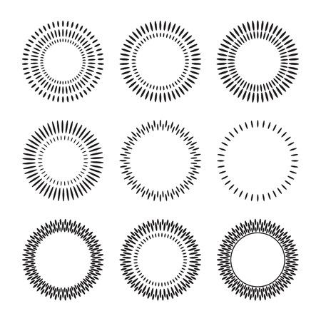sunbusrt의 집합입니다. 디자인을위한 요소 반짝임. 썬은 기하학적 형태와 프레임 버스트. 벡터 일러스트 레이 션 일러스트