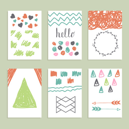 blank template: Collection of hand drawn creative journaling cards. Modern hipster style. Patterns for placards, posters, flyers and banner designs. Trendy posters with hand drawn background. Vector illustration