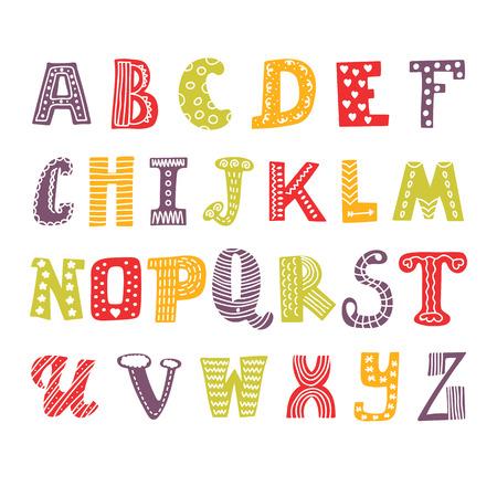 귀여운 손 알파벳을 그리기. 재미 글꼴입니다. 손 디자인을 그려. 벡터 일러스트 레이 션
