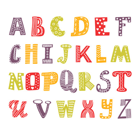 Cute hand drawing alphabet. Funny font. Hand drawn design. Vector illustration Vectores