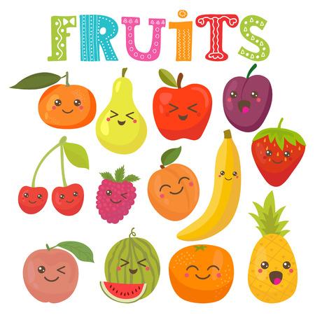 platano caricatura: Kawaii lindo sonriendo frutos. Colección estilo saludable. Ilustración vectorial Vectores