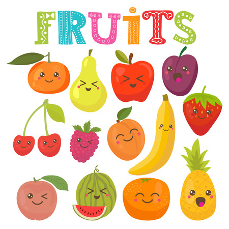 aliments droles: Kawaii mignon sourire fruits. Collection de style saine. Vector illustration