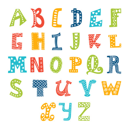 Cute vector alphabet isolated on white background. Letters. Vector illustration