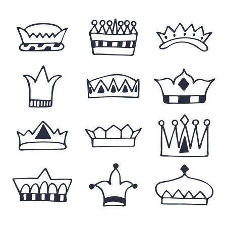 crown tattoo: Hand drawn crowns set. Sketch crowns collection. Vector illustration