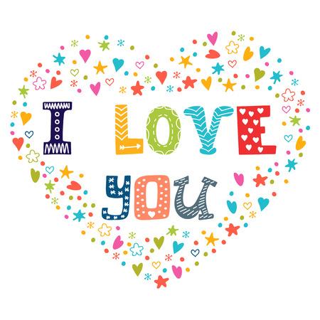 carta de amor: Te amo. Tarjeta romántica con el corazón. Ilustración vectorial Vectores