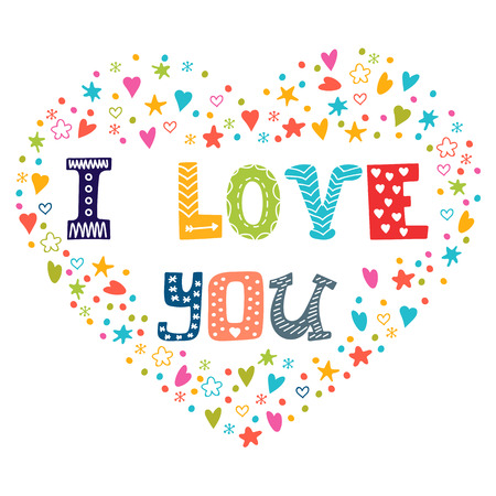 I love you. Romantic card with heart. Vector illustration