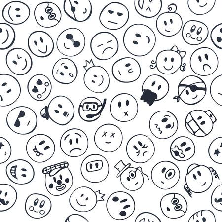 carita feliz caricatura: Modelo incons�til con las caras sonrientes alegres y felices. Emociones bosquejo caras. Ilustraci�n vectorial