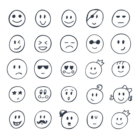 Set of hand drawn smiley, funny faces with different expressions. Vector illustration Stock Illustratie
