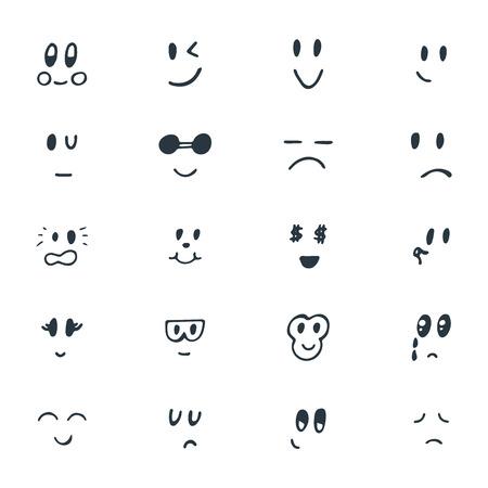 손으로 그린 재미 웃는 얼굴의 집합입니다. 스케치 된 얼굴 표정을 설정합니다. 벡터 일러스트 레이 션