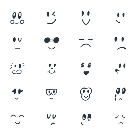 Set of hand drawn funny smiley faces. Sketched facial expressions set. Vector illustration Ilustração