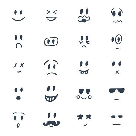 손으로 그린 웃는 얼굴의 집합입니다. 스케치 된 얼굴 표정을 설정합니다. 벡터 일러스트 레이 션